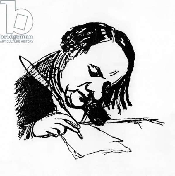 Victor Hugo (1802-1885) French writer, drawing by Prosper Merimee