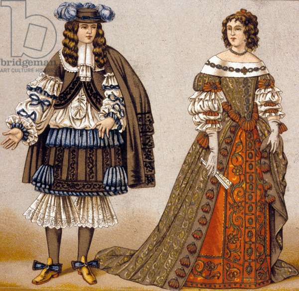 """Illustration for characters Alceste and Celimene in the play """"The Misanthrope"""" by Moliere (coloured engraving)"""