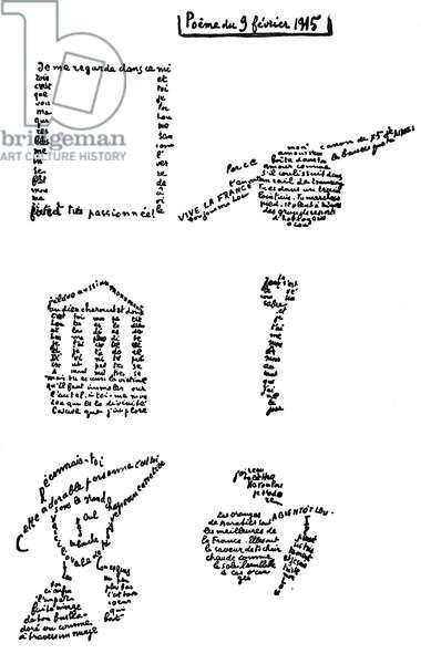 Calligram, poem, 9th February 1915