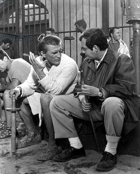 Actor Kirk Douglas and director Stanley Kubrick on set of film Spartacus 1960
