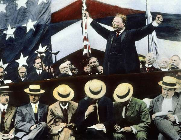 Theodore Roosevelt campaigning as the Progressive Bull moose party candidate for President in the summer of 1912 oil over a photo