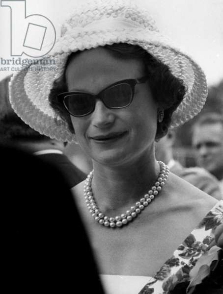 grand-duchess Josephine-Charlotte of Luxembourg (born Josephine-Charlotte Princess of Belgium, daughter of LeopoldIII and-Astrid, sister of kingBaudouin1st, and wife of princeJohn grand-Duke of Luxembourg) during 75th anniversary celebrations of Gymnastics Society in Differdangele June 25, 1961