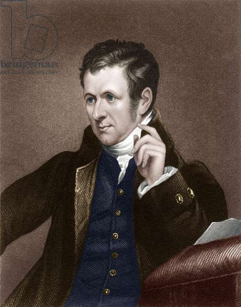Humphry Davy (1778-1829) Cornish chemist and inventor, ngraving after portrait by James Lonsdale, 1830, colourized document