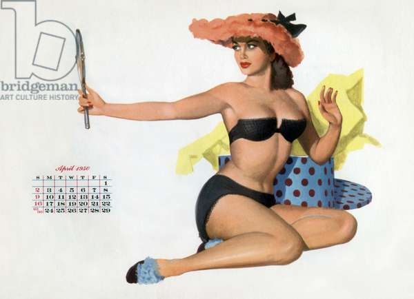 Pin up trying on hats, from Esquire Girl calendar 1950 (April)