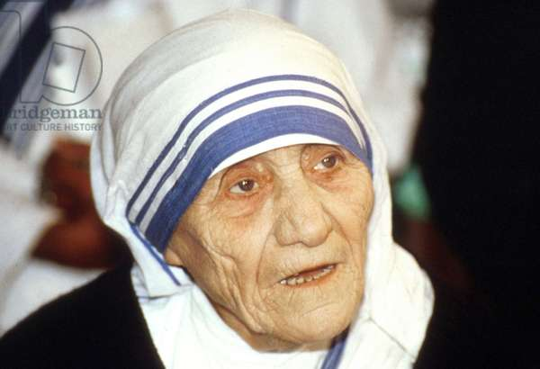Mother Teresa (1910-1997) peace Nobel prize in 1979, here on May 8, 1989