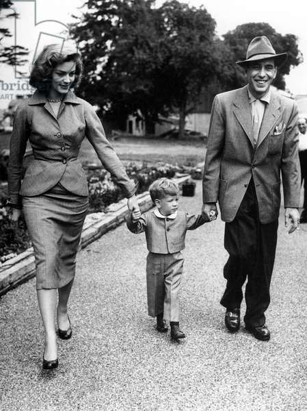 Humphrey Bogart and Lauren Bacall with their son Stephen September 1, 1951