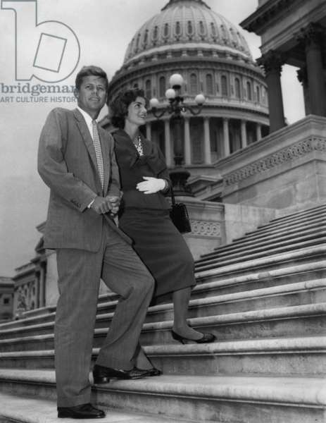 Senator JFK is shown with his wife as he returned to his office at the Capitol in Washington on May 23 1955, after a long illness after the back operation in 1954 after his injuries during second world war