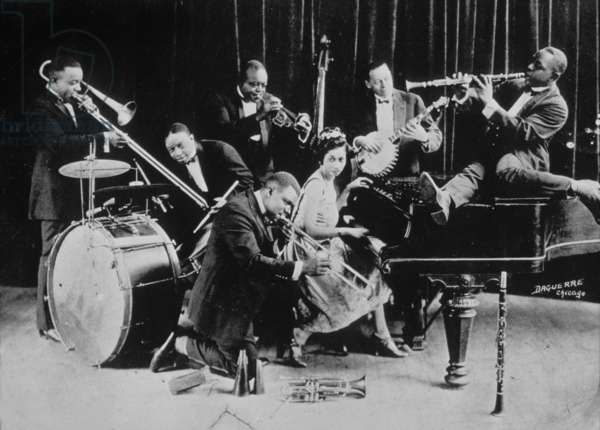 Louis Armstrong and King  Oliver's Creole Jazz Band in Chicago May 1923 (Baby Dodds, Honore Dutry, King  Oliver, Bill Johnson, Johny Dodds, Lil Hardin Armstrong
