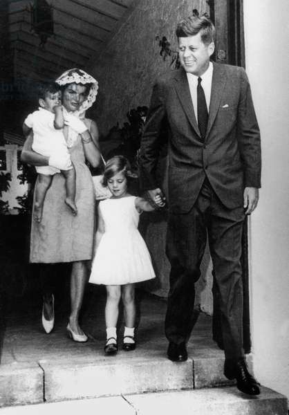 American President John Kennedy and wife Jackie with their children Caroline and John Fitzgerald Kennedy Jr July 1963