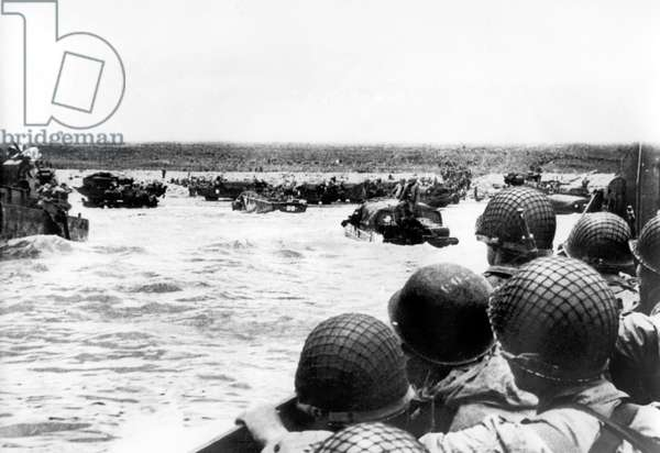 Allied Normandy Landings June 06, 1944: American soldiers in landing crafts and amphibious cars (Omaha Beach)