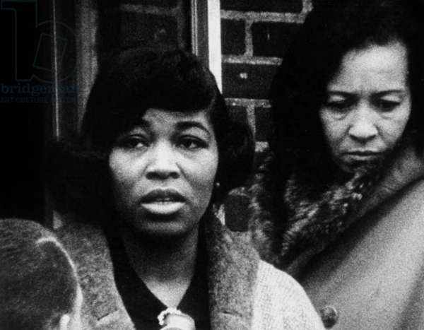 Betty Little Shabazz, Malcolm X's wife, after bombing of the home of political black leader, February 14, 1965