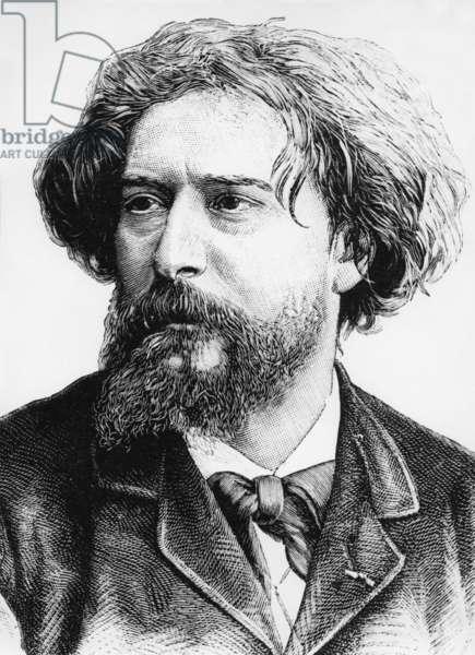 Alphonse Daudet (1840-1897) French writer, engraving, 1890
