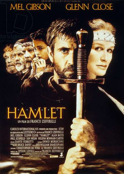 Hamlet de FrancoZeffirelli avec Mel Gibson (Hamlet) et Glenn Close (Gertrude) 1991 (d'apres William Shakespeare)