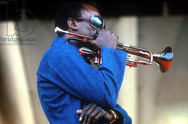 Miles Davis (1926-1991) American composer and jazz trumpet player, here at Newport Jazz Festival July 4 1969