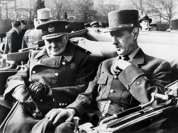 Winston Churchill, English Prime Minister, and General Charles de Gaulle in Paris on November 11, 1944
