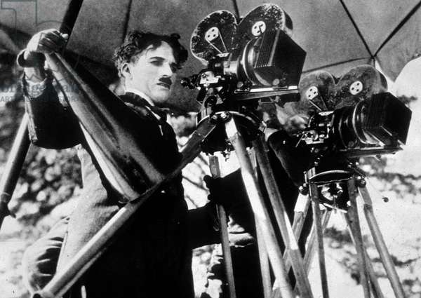 Charlie Chaplin on the set of