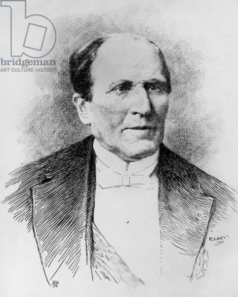 Baron George Eugene Haussmann (1809-1884) Prefect of the Seine in 1853-1870, he was charged by NapoleonIII to conduct renovation works in the center of Paris, engraving
