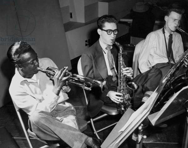 Miles Davis, Lee Konitz and Gerry Mulligan playing Birth of the Cool at Capitol records in New York on January 21, 1949