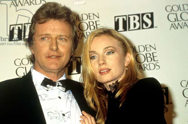 Actors Rutger Hauer and Rebecca De Mornay during Golden Globes ceremony in 1992