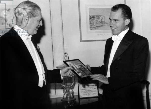 Harold Mac Millan (1894-1986) English Prime Minister and American President Richard Nixon in June 1958
