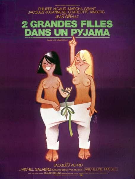 Deux grandes filles dans un pyjama de JeanGirault avec Marcha Grant, 1974