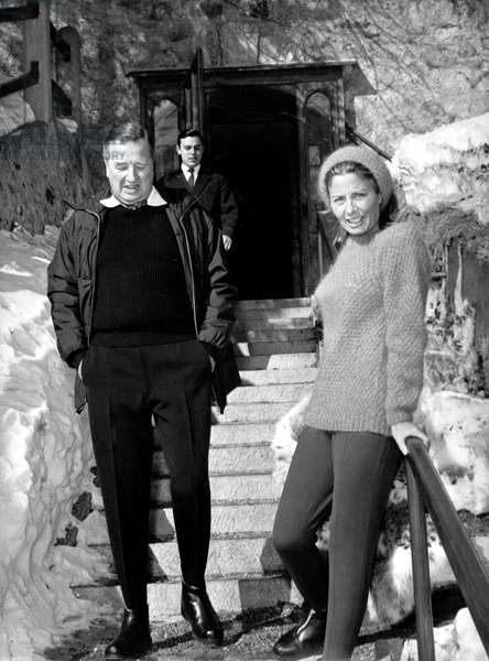 Henry Ford II and his wife Cristina Vettore during honeymoon in Saint Moritz February 23, 1965