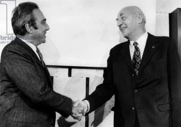 Francois Xavier Ortoli (l) new President of executive committee of European Economic Community, EEC, succeeding to Sicco Mansholt (r) in Brussels on January 8, 1973