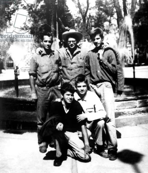 Beat Generation writers in Mexico City: Back row: Jack Kerouac, Allen Ginsberg, Peter Orlovsky. Front row: Gregory Corso and Lafcadio Orlovsky, 1956 (b/w photo)
