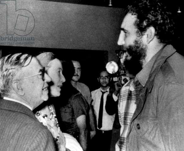 Jean Paul Sartre and Simone de Beauvoir meeting Fidel Castro, head of cuban state, in Havana in February - March 1960 (photo Alberto Korda)
