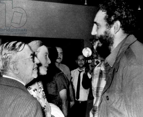 Jean Paul Sartre and Simone de Beauvoir meeting Fidel Castro, head of cuban state, in Havana in February - March 1960 (photo Alberto Korda)