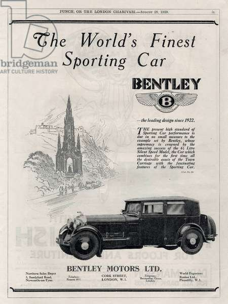 English advertisement for Bentley car 1929