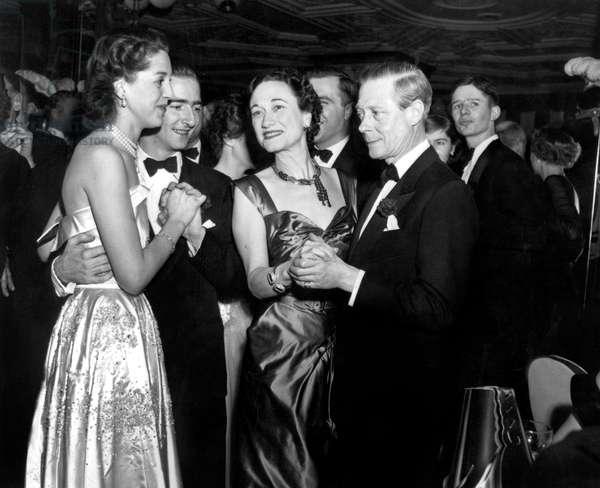 Duke Edward of Windsor and duchess of Windsor (Wallis Simpson) at Sherry-Netherlands hotel ball in New York December 31, 1949