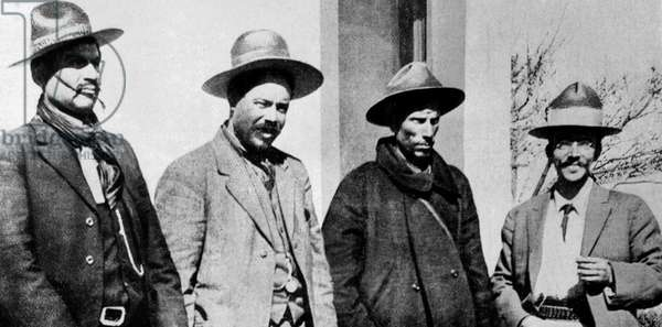 Rodolfo Fierro and Pancho Villa, leader of mexican revolution with Ortoga and Medina in 1914