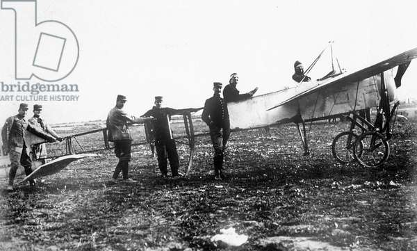 Louis Bleriot and his plane Bleriot XI juste before his First air crossing of the English Channel, 25 July 1909