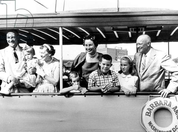 President Dwight Eisenhower and his wife Mary Geneva Eisenhower (aka Mamie) celebrating 42nd Wedding anniversaire with their family, 1958