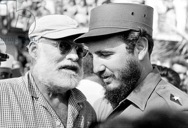 The writer Ernest Hemingway and Fidel Castro in Cuba in 1960