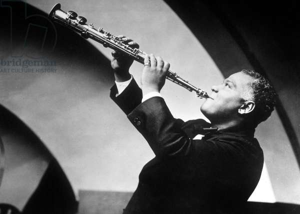 New Orleans jazzman Sidney Bechet here playing the soprano saxophone in the 40's