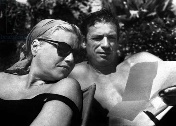 Simone Signoret and Yves Montand on holidays in Saint-Paul-de-Vence, France, August 21, 1961