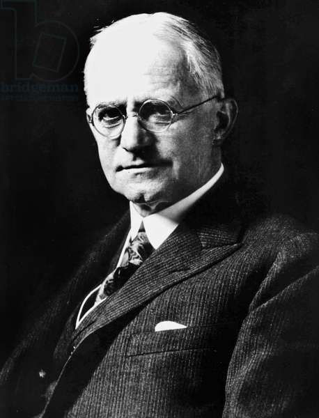 American industrialist George Eastman (1854-1932) who invented the modern photographic film in 1889, founder of Kodak company