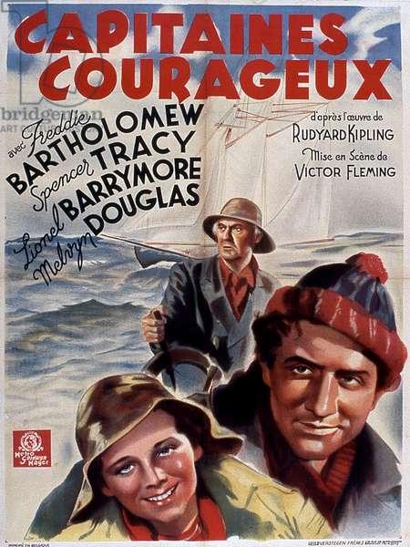 Affiche du film Capitaines Courageous de VictorFleming avec Freddie Bartholomew (enfant) Spencer Tracy et Lionel Douglas 1937 (d'après Rudyard Kipling)
