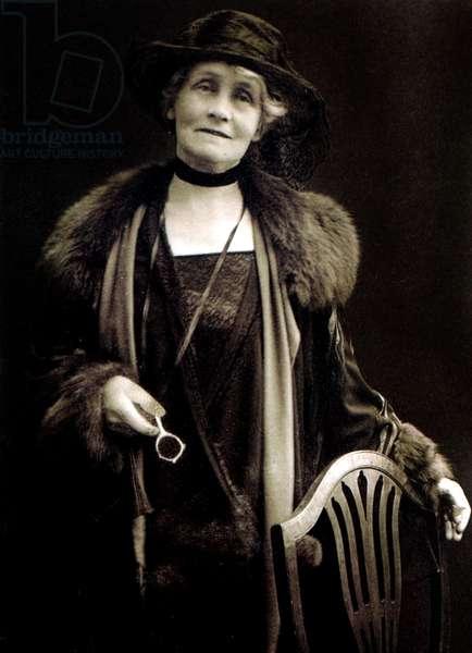 Emmeline Pankhurst (1858-1928) feminist, English suffragette who led movement for women right to vote in England