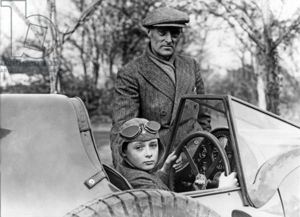 "Donald Campbell driving ""Bluebird"" in presence of his father Sir Malcolm Campbell c. 1933"