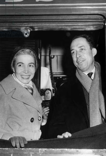 Albert Camus and his wife Francine arriving in Stockholm to receive Nobel Prize (ceremony took place on December 10, 1957)