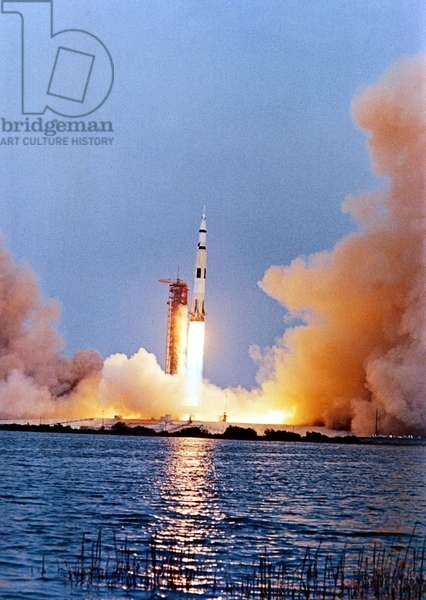 Lift-off of the rocket of Apollo 13 mission on April 11, 1970 from Cap Kennedy in Florida