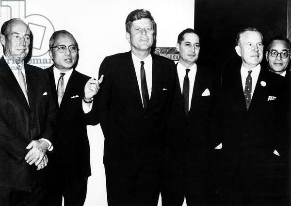 American President John Kennedy during official visit at General headquarters of United Nations