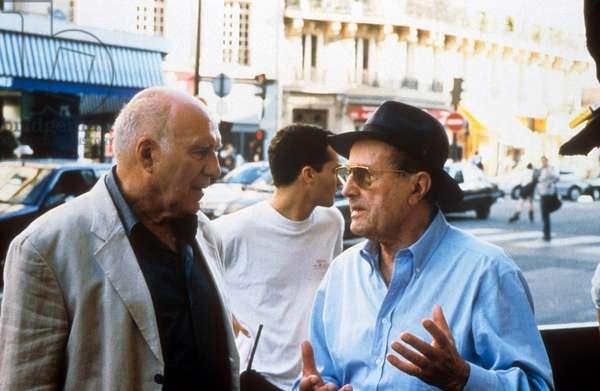 "Michel Piccoli and director Manuel de Oliveira on set of film ""Je rentre a la maison"" 2001"