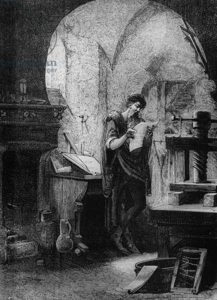 Johann Gutenberg (c.1397-1468) German inventor of the printing press, here in his workshop at Saint Arbogast convent in Strasbourg, engraving