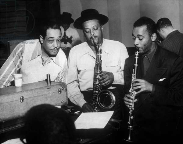 Duke Ellington with Ben Webster and Jimmy Hamilton at Carnegie Hall, 1948 (b/w photo)