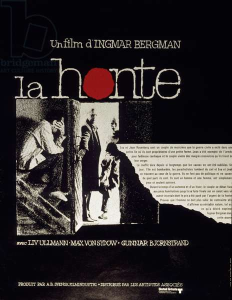 Affiche du film La honte de IngmarBergman avec Liv Ullmann et Max von Sydow 1968