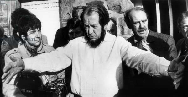 Exiled Russian author Alexander Solzhenitsyn and German writer Heinrich Boll talking to journalists in Cologne, West Germany,  February 1974